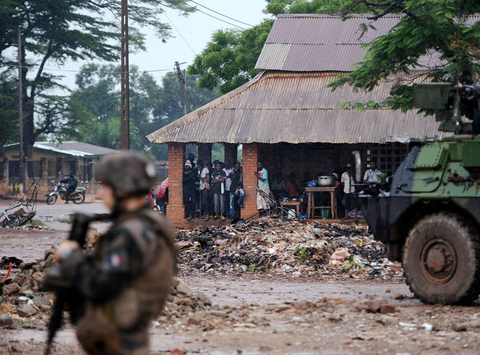 File: A French soldier is pictured in the Central African Republic