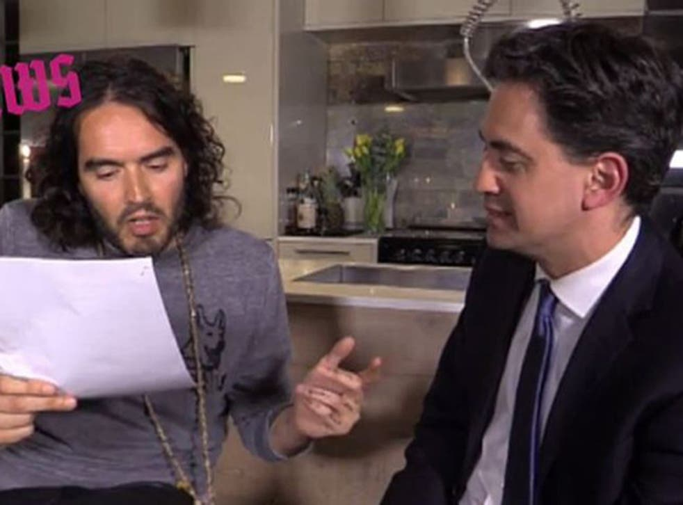Question time: Russell Brand interviewing Ed Miliband on his YouTube show