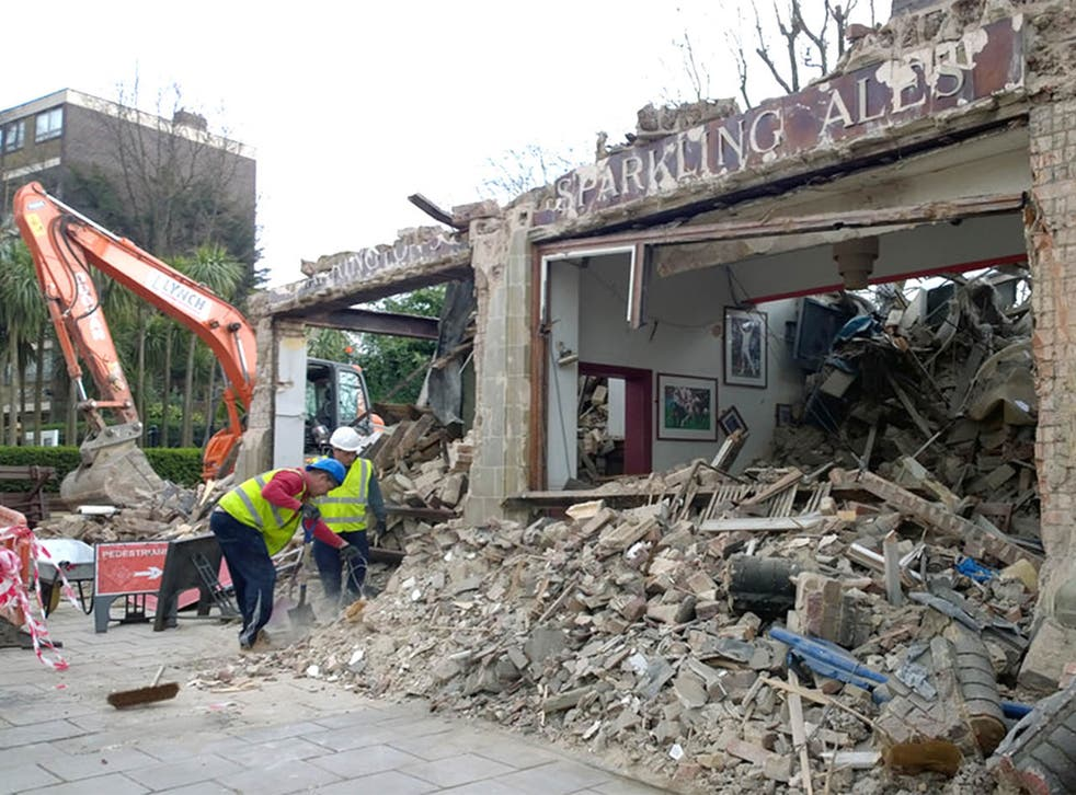 The Carlton Tavern in Kilburn after developers ordered it be demolished