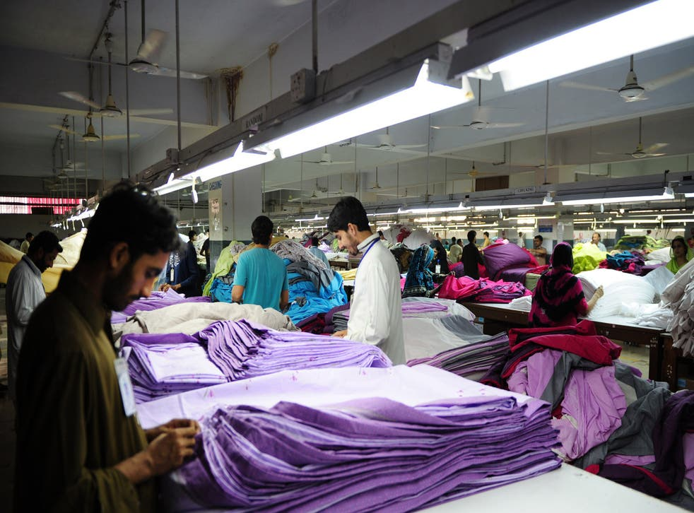 Workers in a Pakistani garment factory.