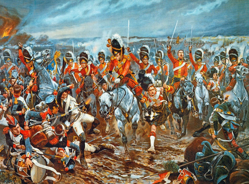 The charge of the Scots Greys and Gordon Highlanders at the Battle of Waterloo, 1815