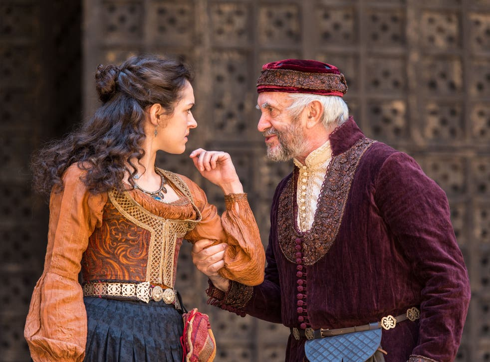 Phoebe and Jonathan Pryce in The Merchant of Venice at Shakespeare's Globe