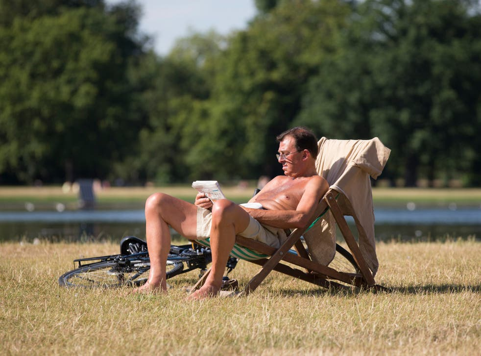 A man relaxes in warm weather in London's Hyde Park during the heatwave of summer 2014.