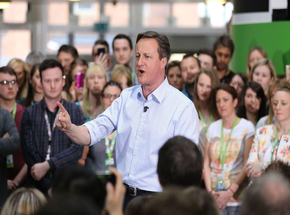 David Cameron addressing staff at the Asda headquarters in Leeds