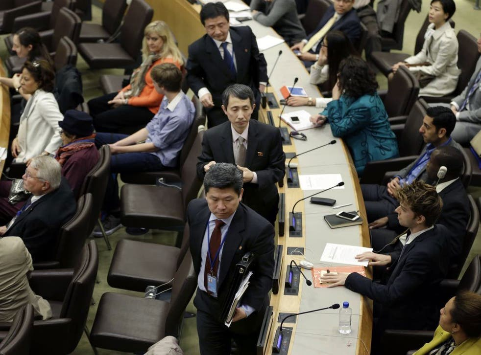 North Korean diplomats left the meeting at the United Nations headquarters on Thursday