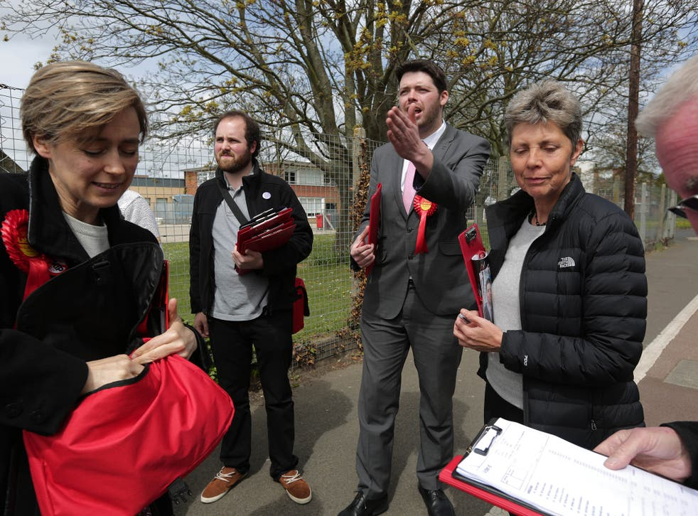 Labour's Will Scobie (centre) has been spending every day campaigning in South Thanet, in contrast to Nigel Farage's limited appearances