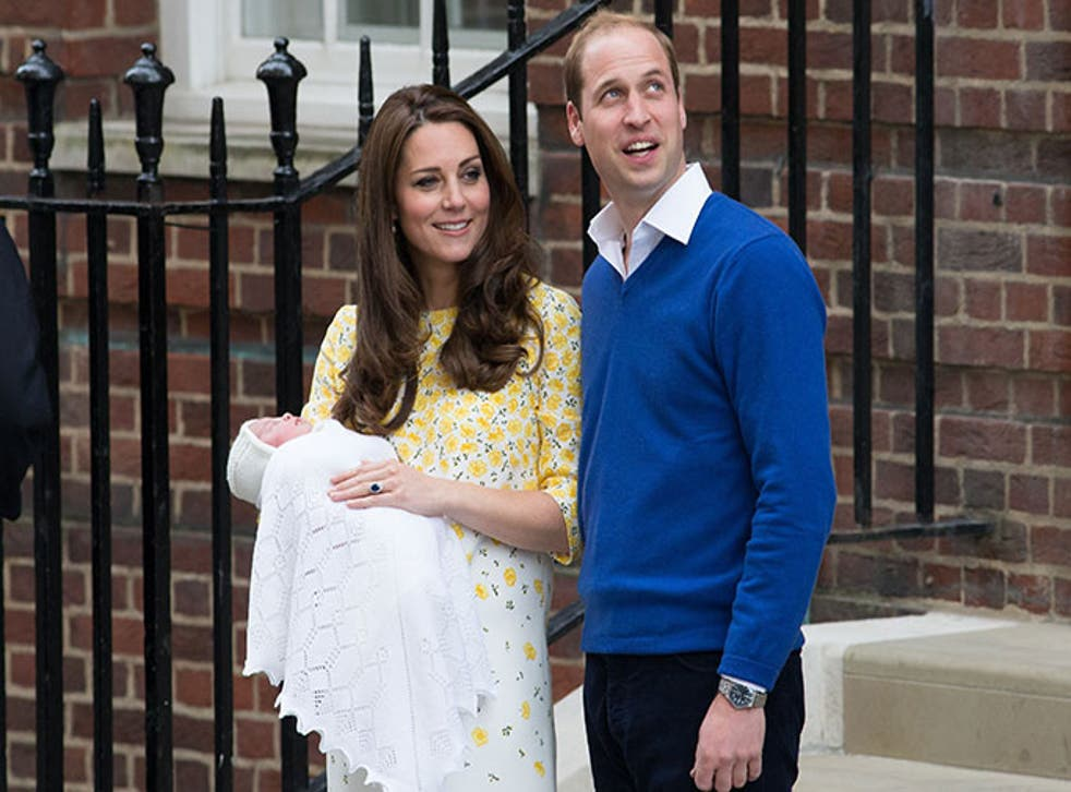 The Duchess of Cambridge and Prince William briefly posed for photographs with their new daughter outside the Lindo Wing
