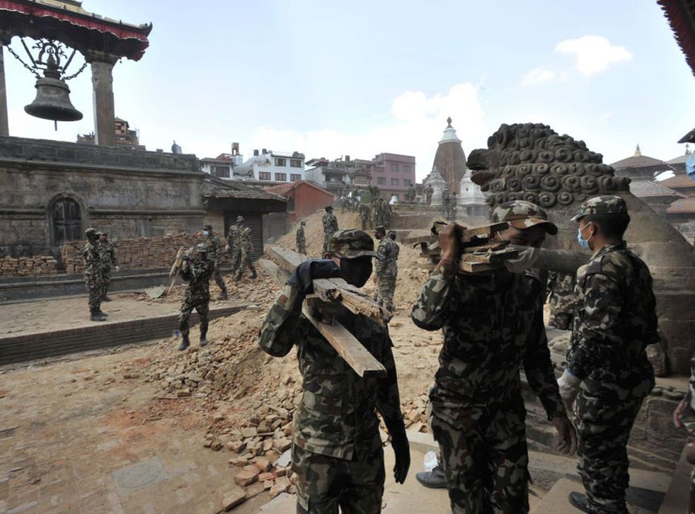 The palaces and temples of Patan Durbar square in Kathmandu have either been destroyed or severely damaged