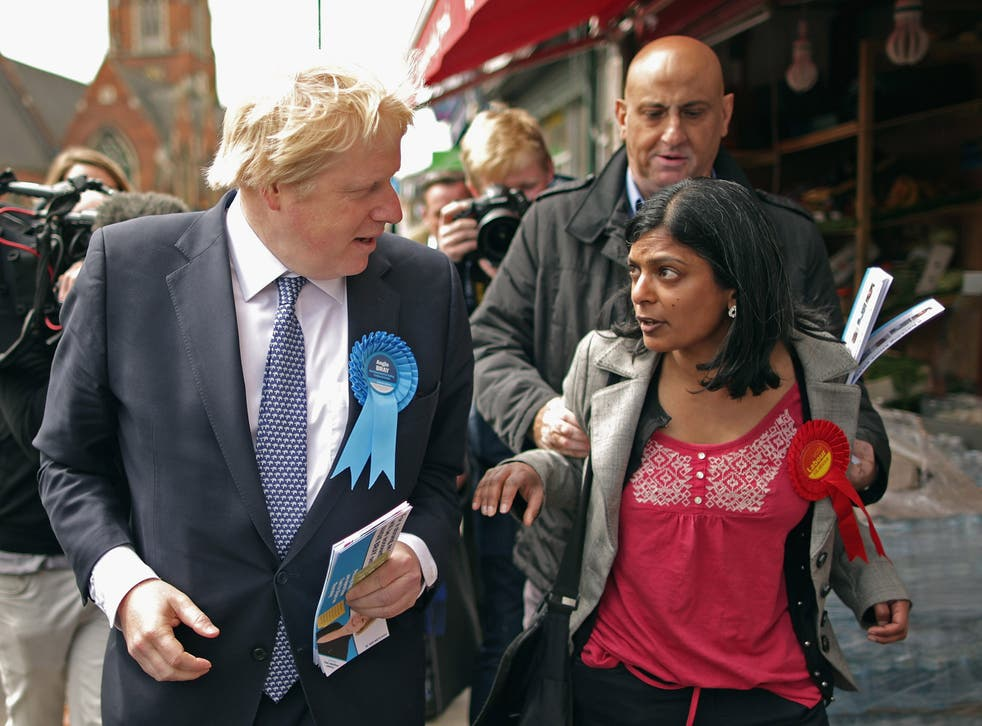 Labour candidate Rupa Huq is manhandled by a Tory activist during the election campaign in Ealing Central and Acton