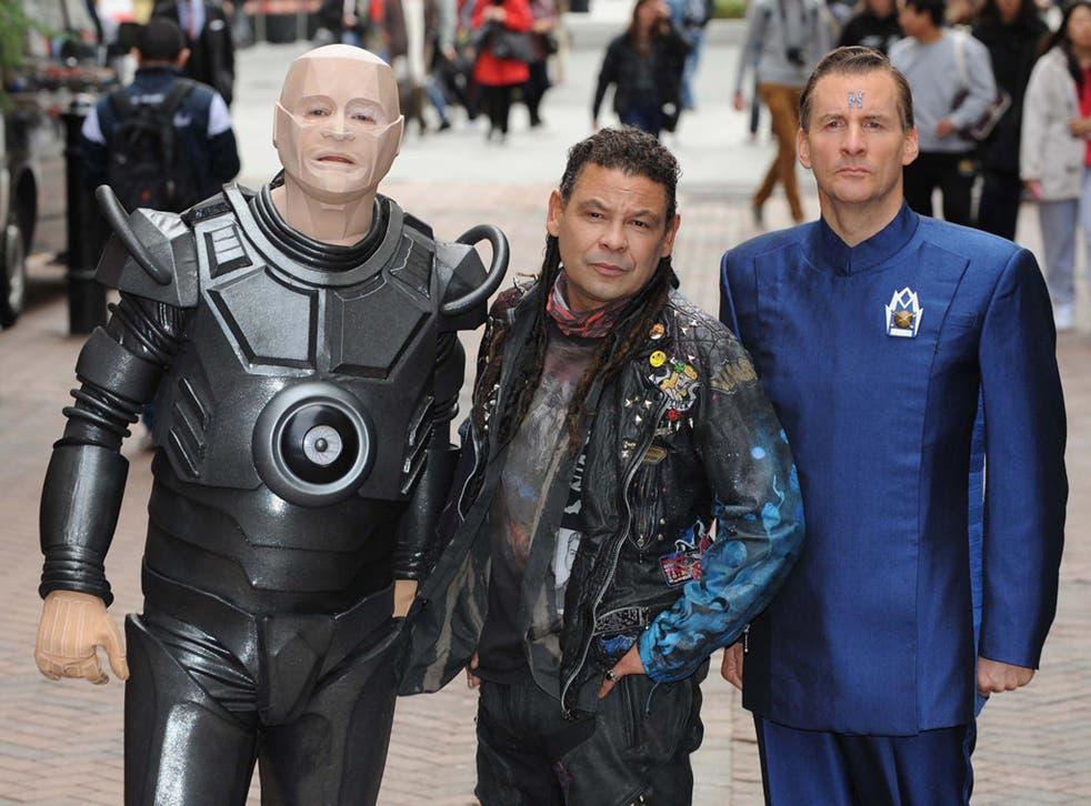 Craig Charles as Dave Lister, Robert Llewellyn as Kryten and Chris Barrie as Arnold Rimmer