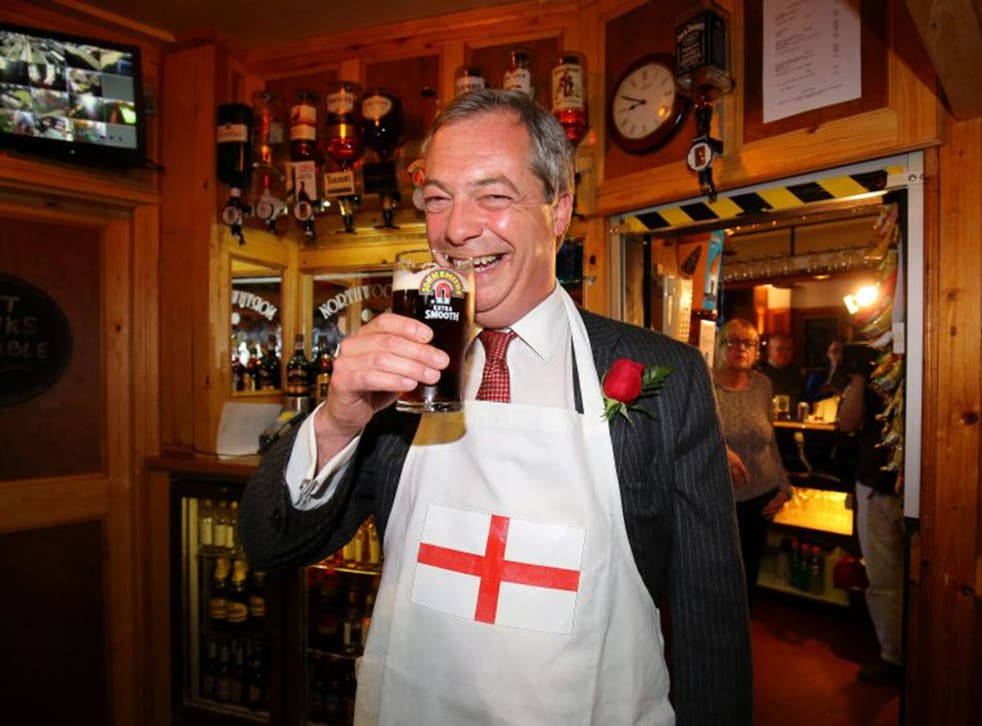 Ukip leader Nigel Farage at the Northwood Club in Ramsgate, Kent on St George's Day