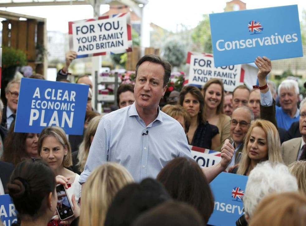 David Cameron speaks to supporters at Squires garden centre in Twickenham