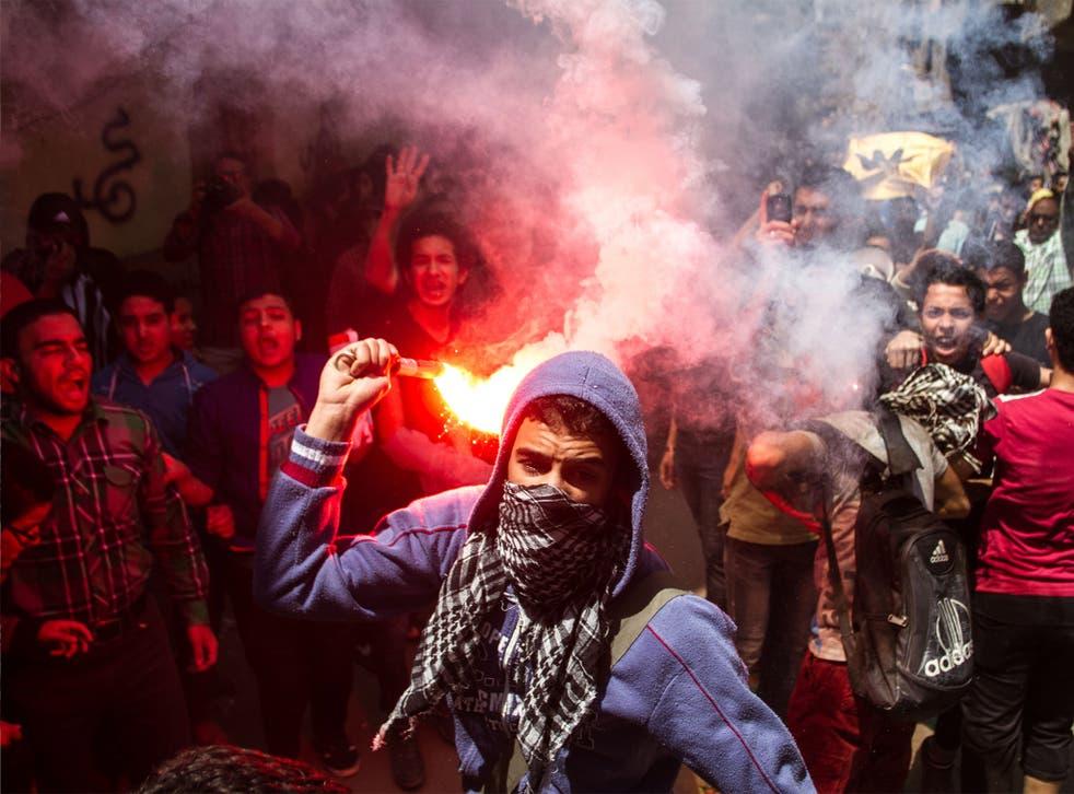 Muslim Brotherhood supporters demonstrate near Cairo last month