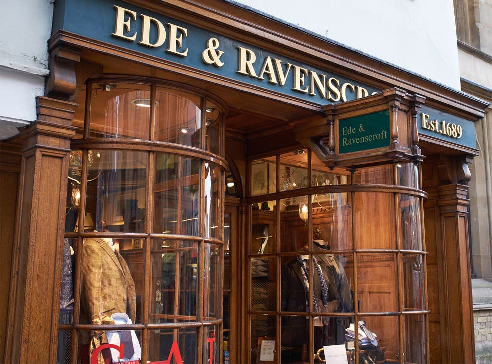 Ede & Ravenscroft tailors in Oxford, where the PM's picture was on show