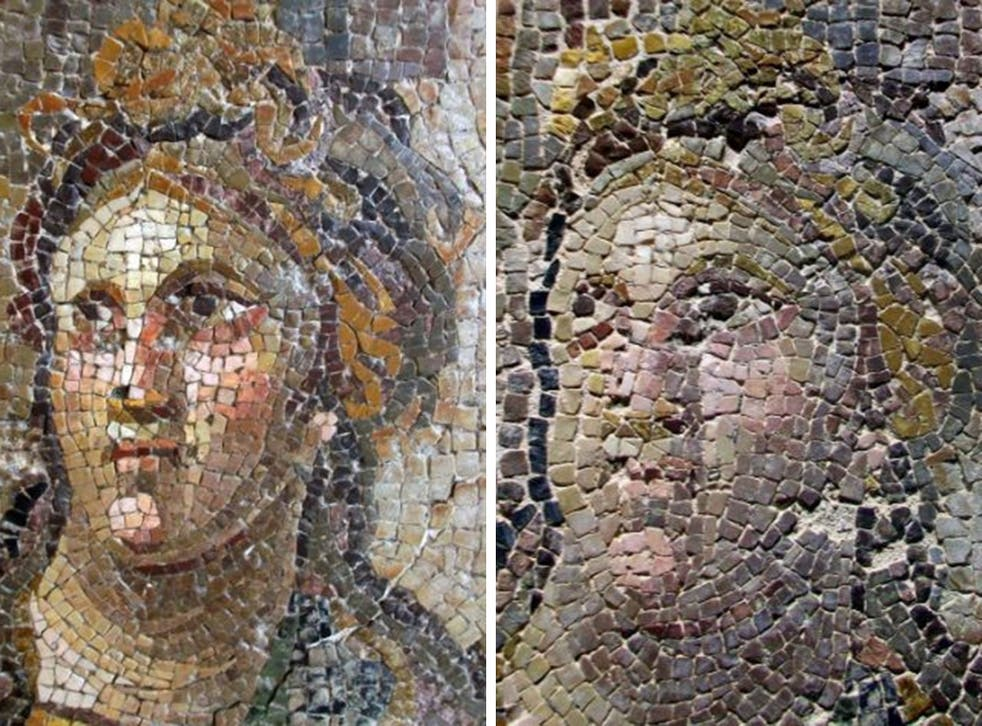 A undated combo picture made avaliable on 05 May 2015 shows an ancient mosaic before restoration (L) and seriously damaged after the restoration (R) at Antakya Archaeological Museum in Antakya, Turkey. At least 10 mosaics in the world's second largest mos