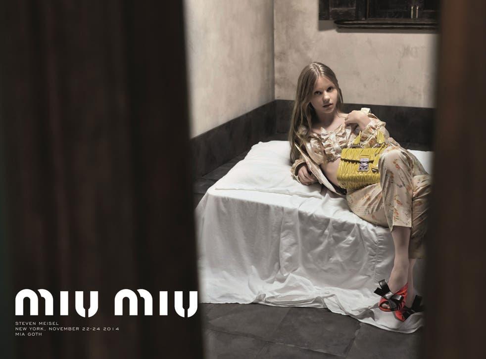 Banned: Mia Goth in the latest ad for Miu Miu.