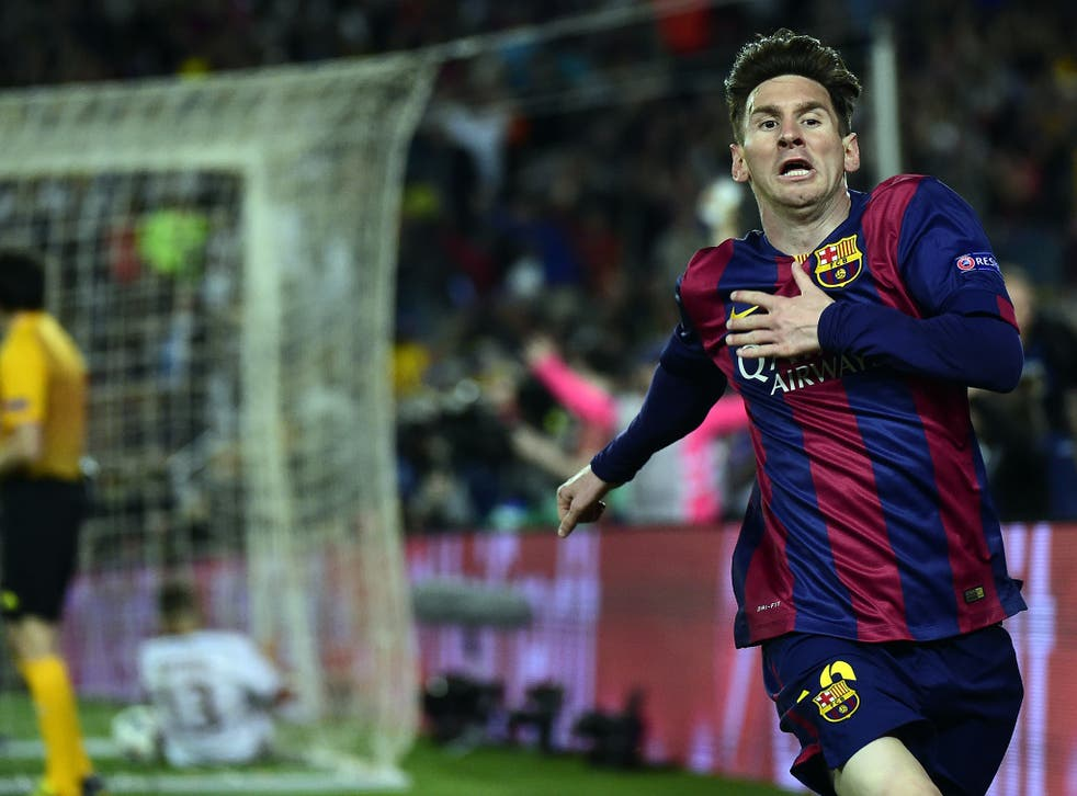 Lionel Messi celebrates one of his two goals