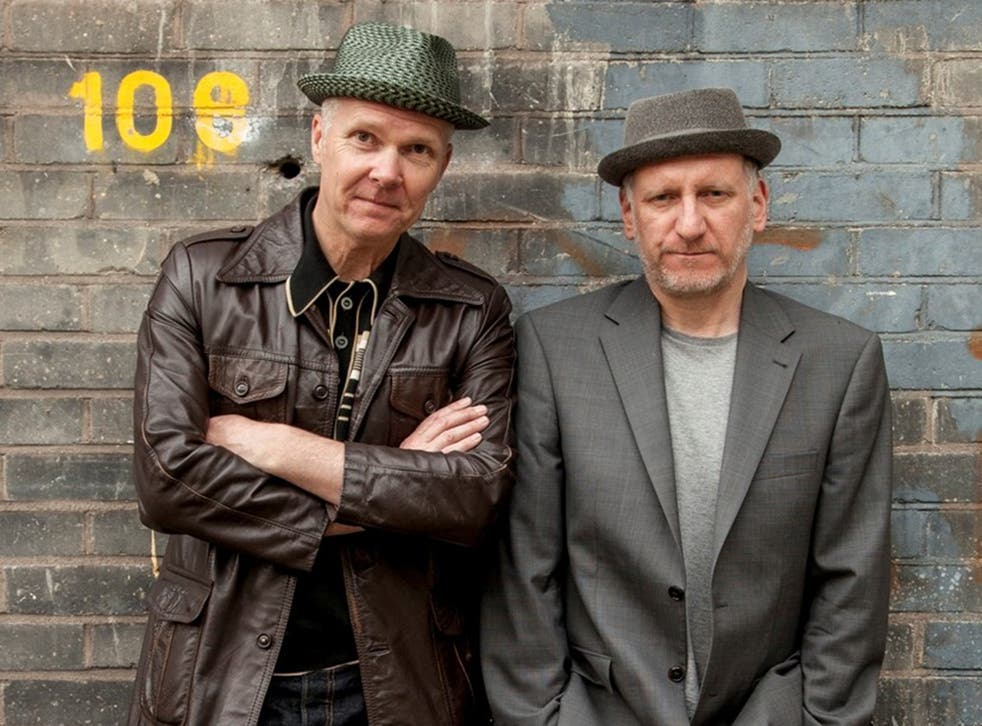 Older, no wiser: Trevor (left) and Simon play the synth-pop duo Pink Custard in their new podcast