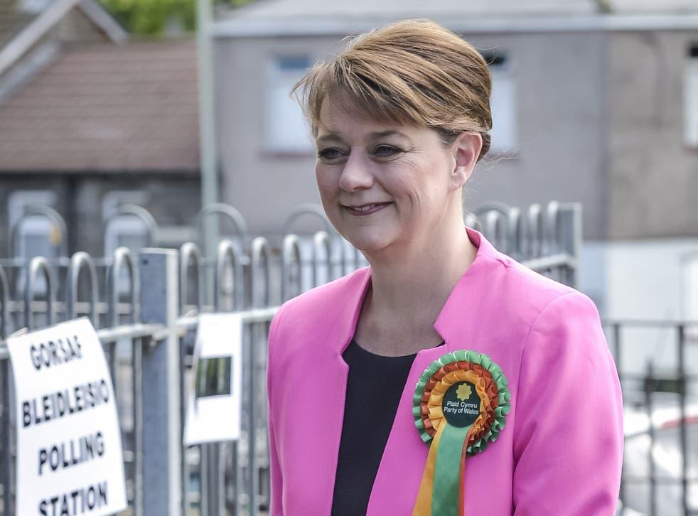 Plaid Cymru leader Leanne Wood arrives at a polling station in Penygraig, Rhondda, Wales