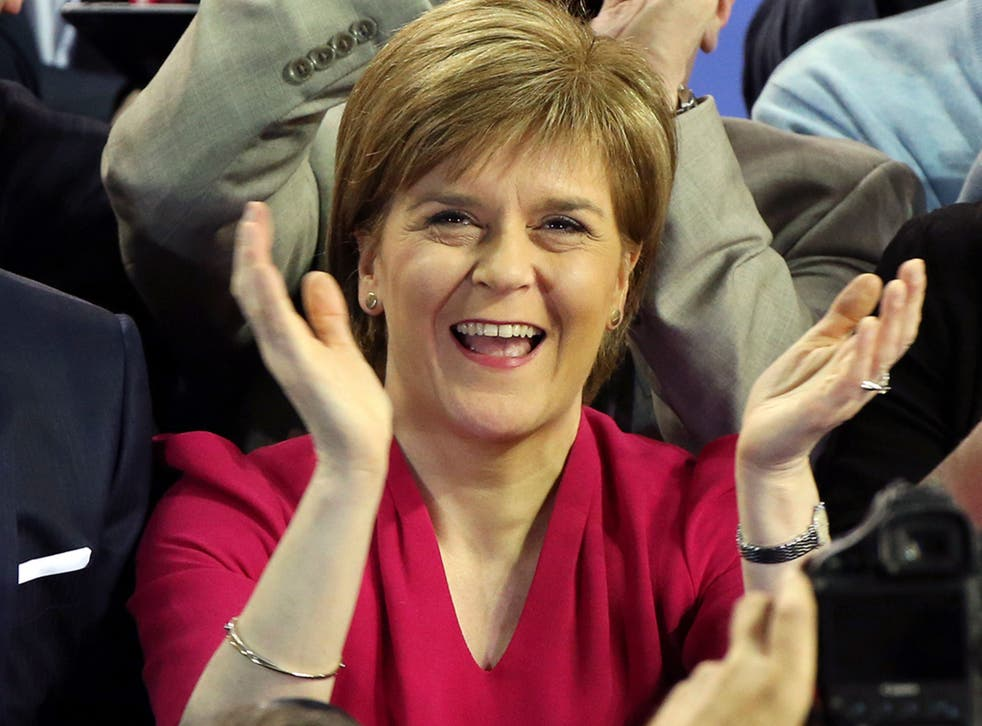 First Minister of Scotland and Scottish National Party leader Nicola Sturgeon celebrates with the results for her party at the count of Glasgow constituencies for the general election in Glasgow