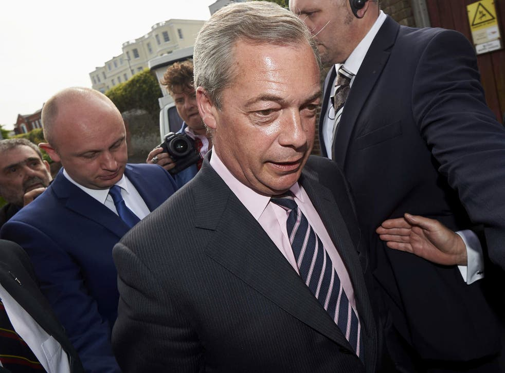 UK Independence Party (UKIP) leader Nigel Farage arrives at a counting centre in Margate