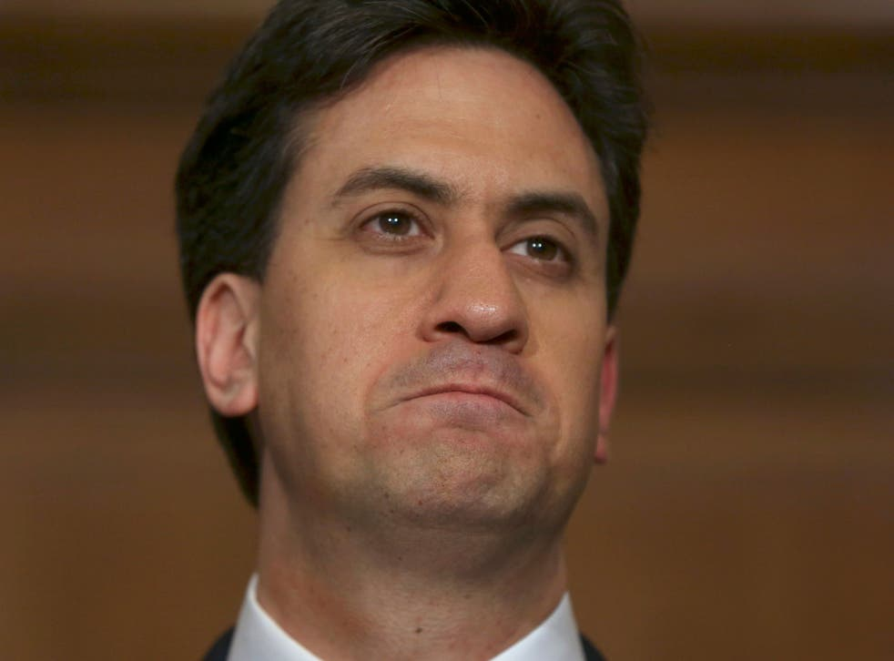 Labour Party leader Ed Miliband announces his resignation as leader at a news conference in London