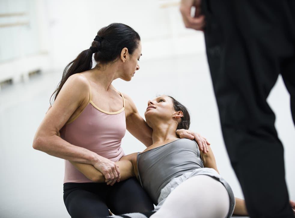 A dramatic scene between two females in Woolf Works by Wayne McGregor at Fonteyn Studio, Royal Opera House.
