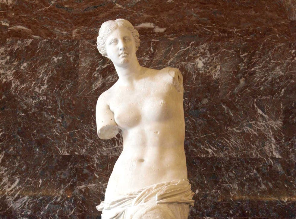 The Venus de Milo, credited to Alexandros of Antiochus, on display in the Louvre