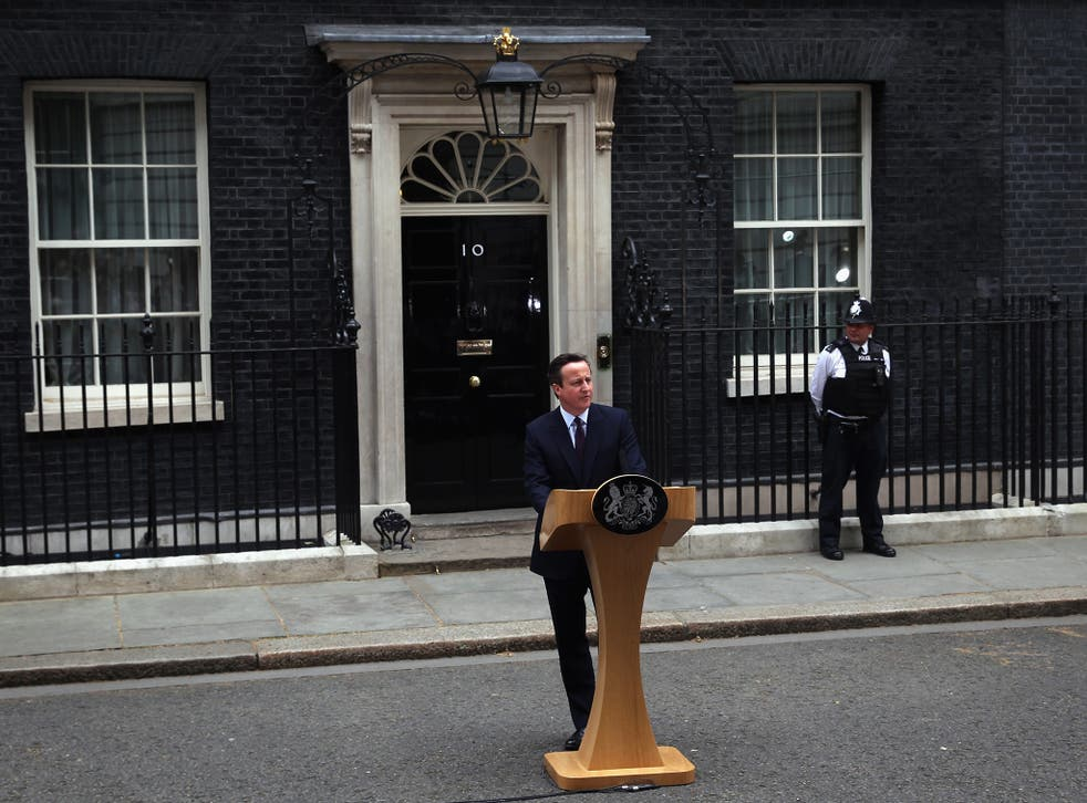 Cameron makes victory speech outside of 10 Downing Street after his surprise election win