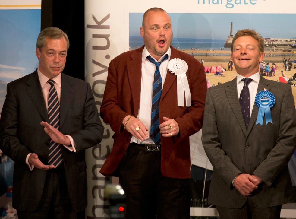 The new Conservative MP Craig Mackinlay (right) after winning the South Thanet seat, beside defeated rivals Nigel Farage and the comedian Al Murray