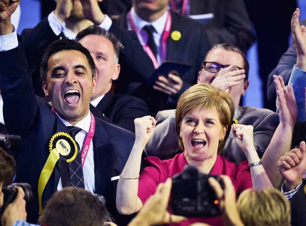 Nicola Sturgeon, leader of the SNP, celebrates after the landslide victory in Glasgow yesterday morning