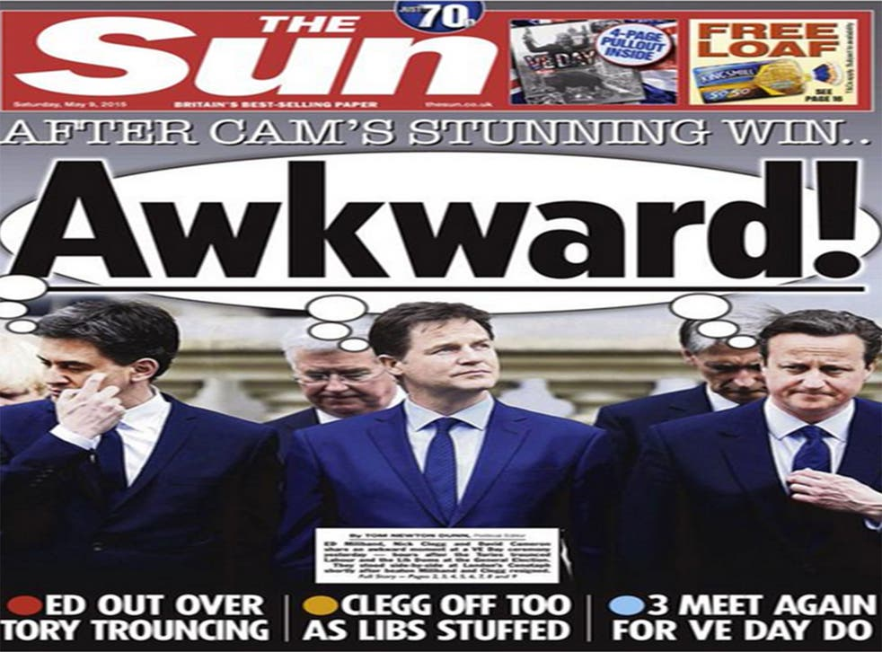 The Sun's front page after the general election