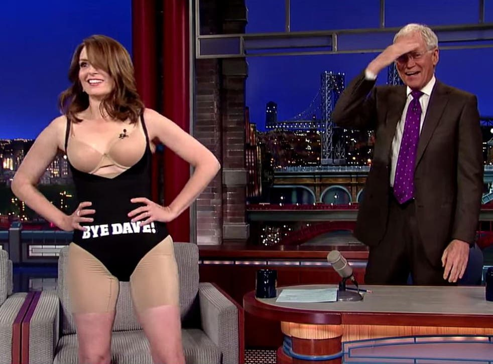 Tina Fey says goodbye to Letterman by 'conforming to gender norms' for one night only