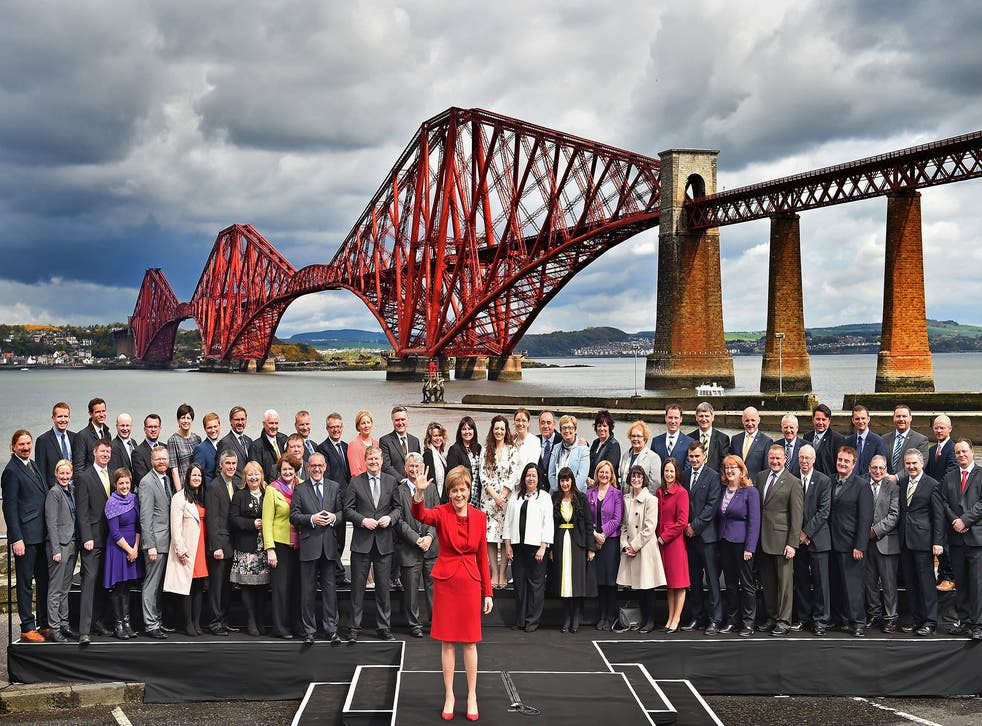 SNP leader Nicola Sturgeon with all 56 of her new MPs