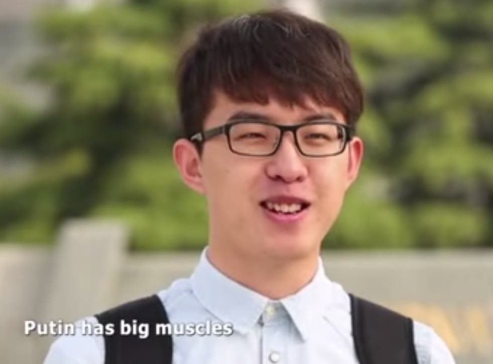 A screenshot from the video, in which Chinese citizens (literally) sing the praises of Vladimir Putin