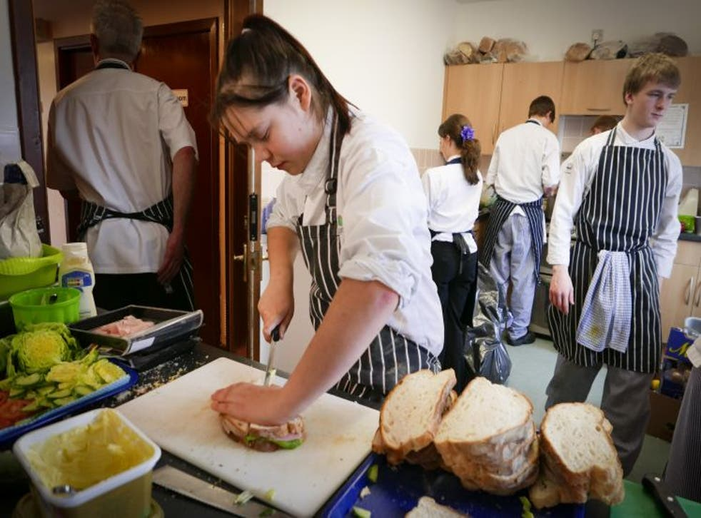 Catering students at Kendal College preparing food