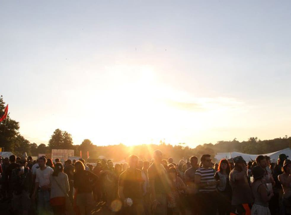 Festivalgoers revelling in the Sun at Latitude 2010