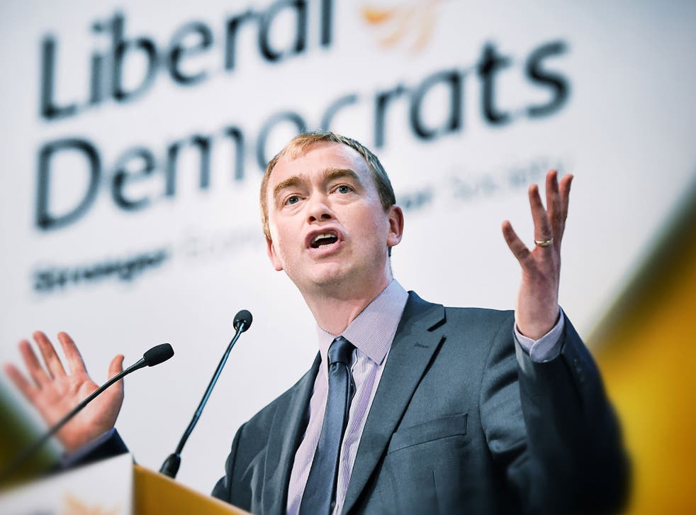 Tim Farron speaking at the Liberal Democrats Party Conference