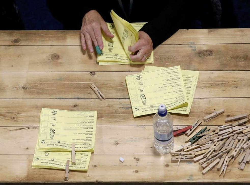 Electoral Ballots being counted in Sheffield