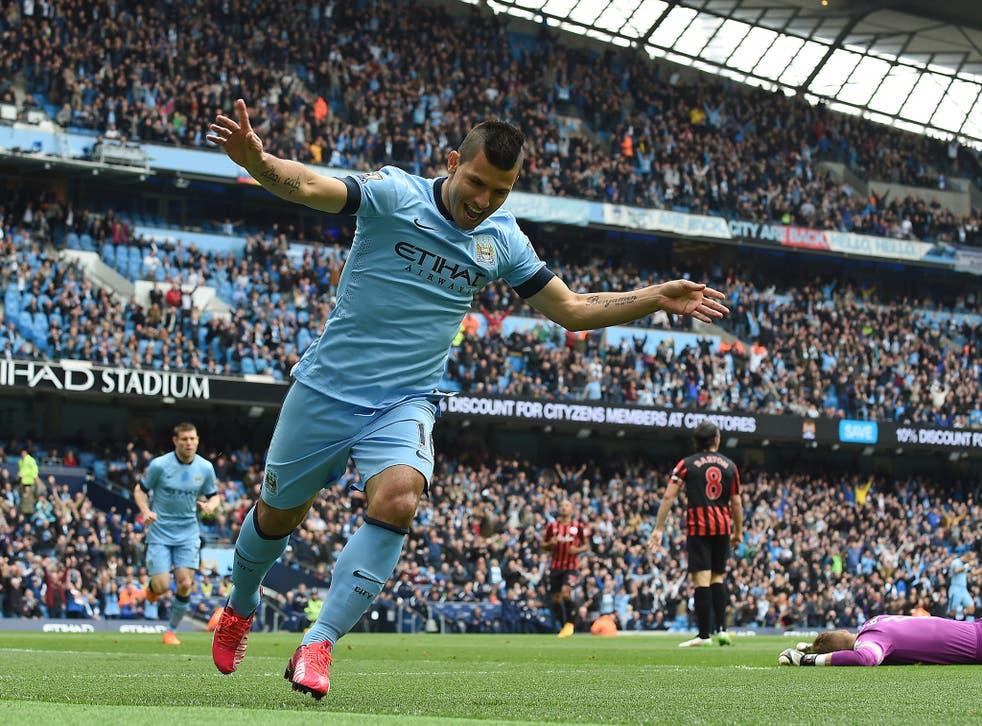 Sergio Aguero celebrates one of his goals against QPR
