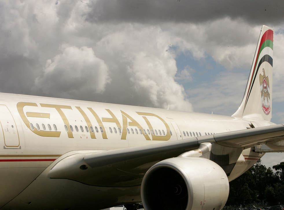 File image shows the first flight from Etihad to land in Australia in 2007. The airline has grown rapidly in recent years