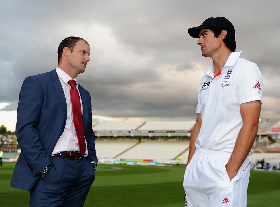 Alastair Cook speaks with Andrew Strauss
