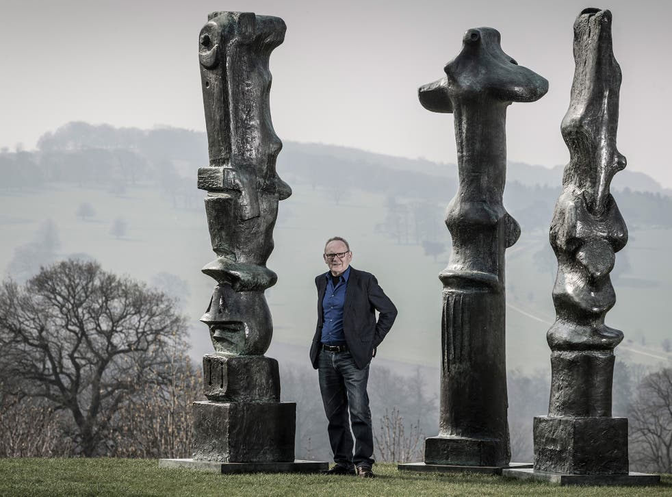 Peter Murray at the park with works by Henry Moore