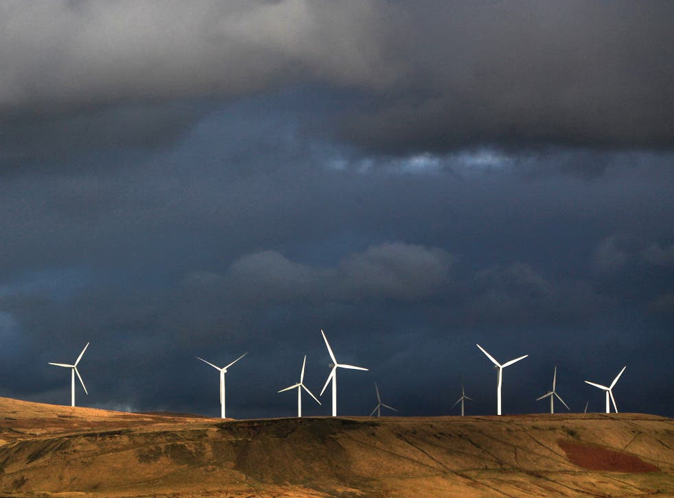 The Scout Moor Wind Farm in Rochdale, the South Pennines. The Government insists renewable energy must be 'cost-effective', and advocates fear that support will be cut
