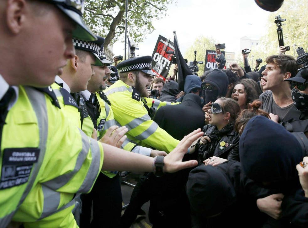 Protesters and police faced off at the gates of Downing Street on 9 May