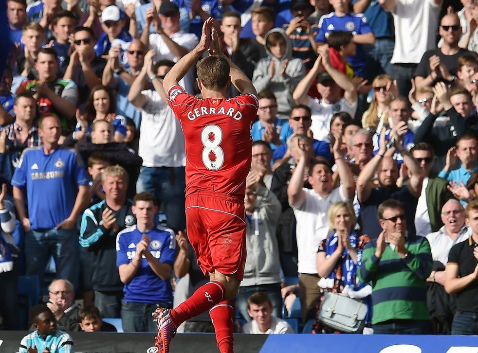 Steven Gerrard is applauded off the field by the Chelsea fans