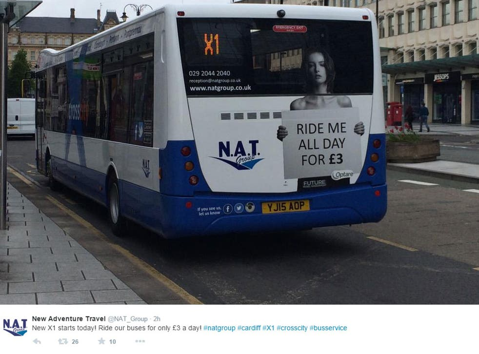 Sexist advertising:  The NAT Group's tweet promoting the new 'ride me all day' service