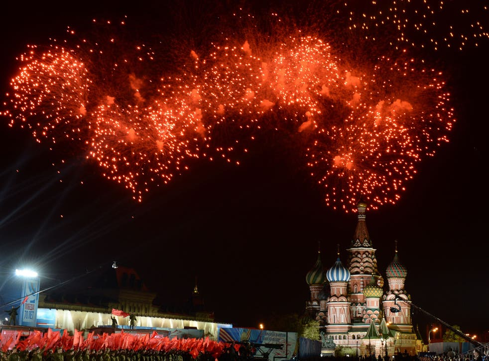 Fireworks explode above Moscow's Red Square during the Victory Day celebrations marking the 70th anniversary of the 1945 victory over Nazi Germany