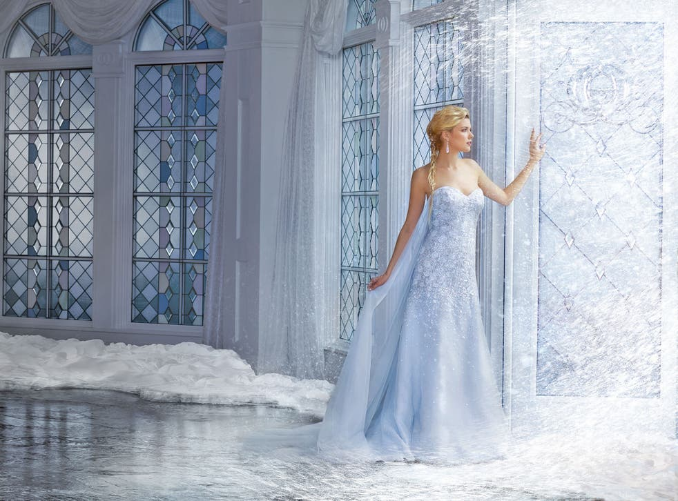 """The Elsa-inspired wedding dress is based on the gown worn by the princess in the iconic """"Let It Go"""" scene."""