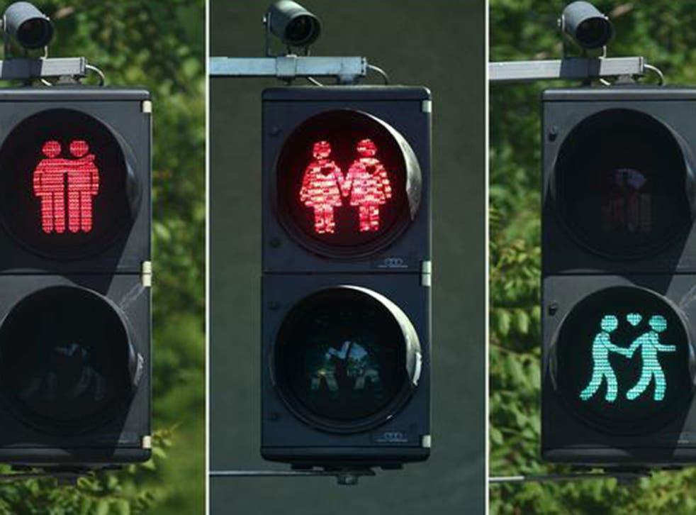 Gay-friendly traffic lights in Eurovision 2015 host city Vienna